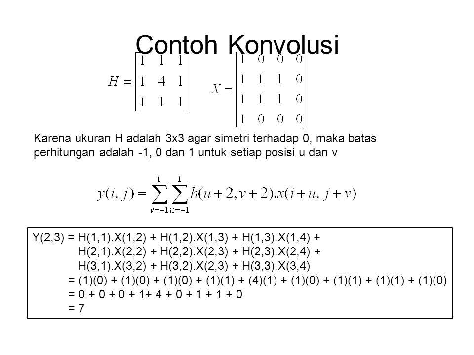 Contoh Konvolusi Karena ukuran H adalah 3x3 agar simetri terhadap 0, maka batas perhitungan adalah -1, 0 dan 1 untuk setiap posisi u dan v.