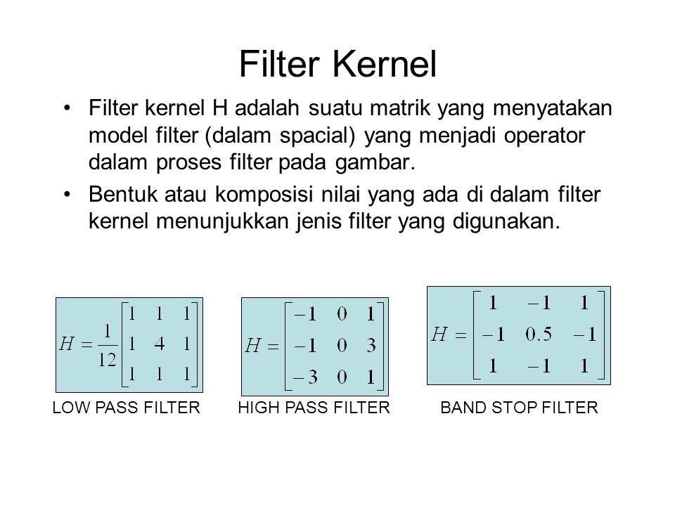 Filter Kernel Filter kernel H adalah suatu matrik yang menyatakan model filter (dalam spacial) yang menjadi operator dalam proses filter pada gambar.