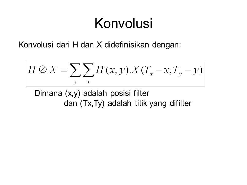 Konvolusi Konvolusi dari H dan X didefinisikan dengan: