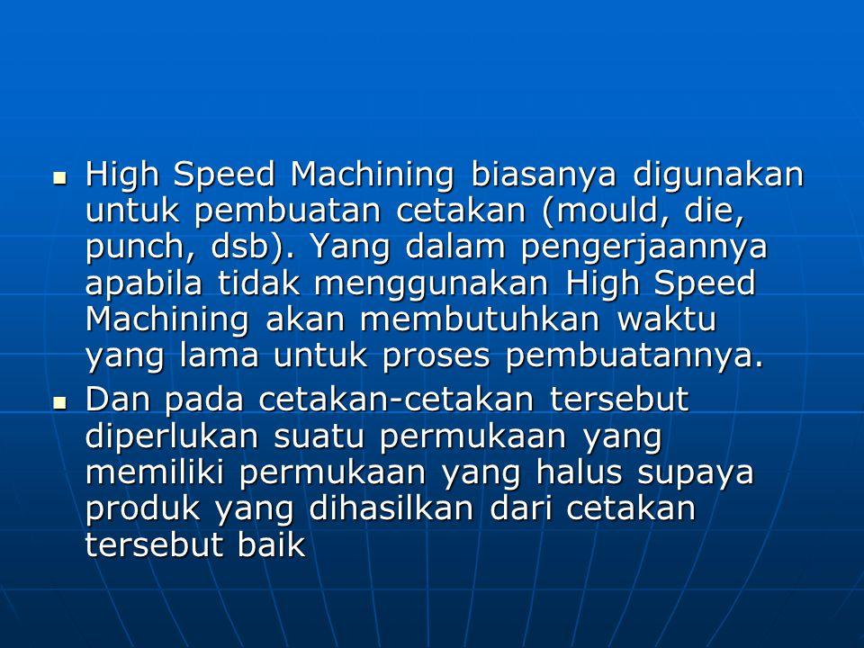 High Speed Machining biasanya digunakan untuk pembuatan cetakan (mould, die, punch, dsb). Yang dalam pengerjaannya apabila tidak menggunakan High Speed Machining akan membutuhkan waktu yang lama untuk proses pembuatannya.