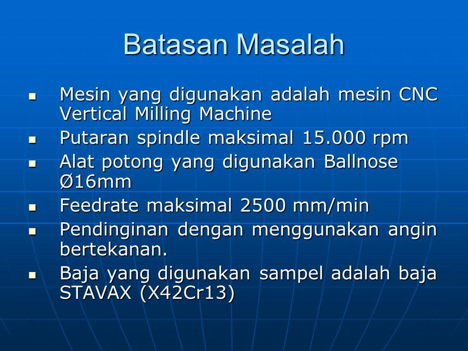 Batasan Masalah Mesin yang digunakan adalah mesin CNC Vertical Milling Machine. Putaran spindle maksimal 15.000 rpm.