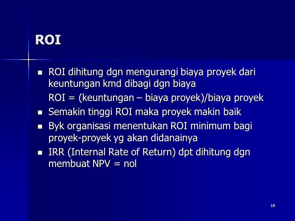 ROI ROI dihitung dgn mengurangi biaya proyek dari keuntungan kmd dibagi dgn biaya. ROI = (keuntungan – biaya proyek)/biaya proyek.