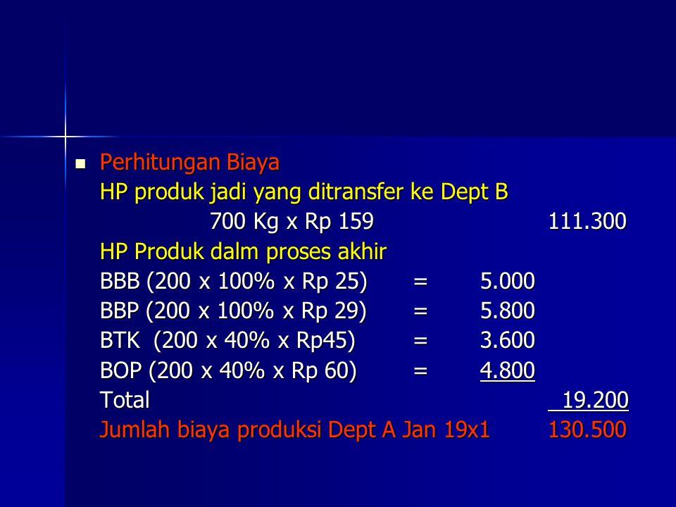 Perhitungan Biaya HP produk jadi yang ditransfer ke Dept B. 700 Kg x Rp 159 111.300. HP Produk dalm proses akhir.