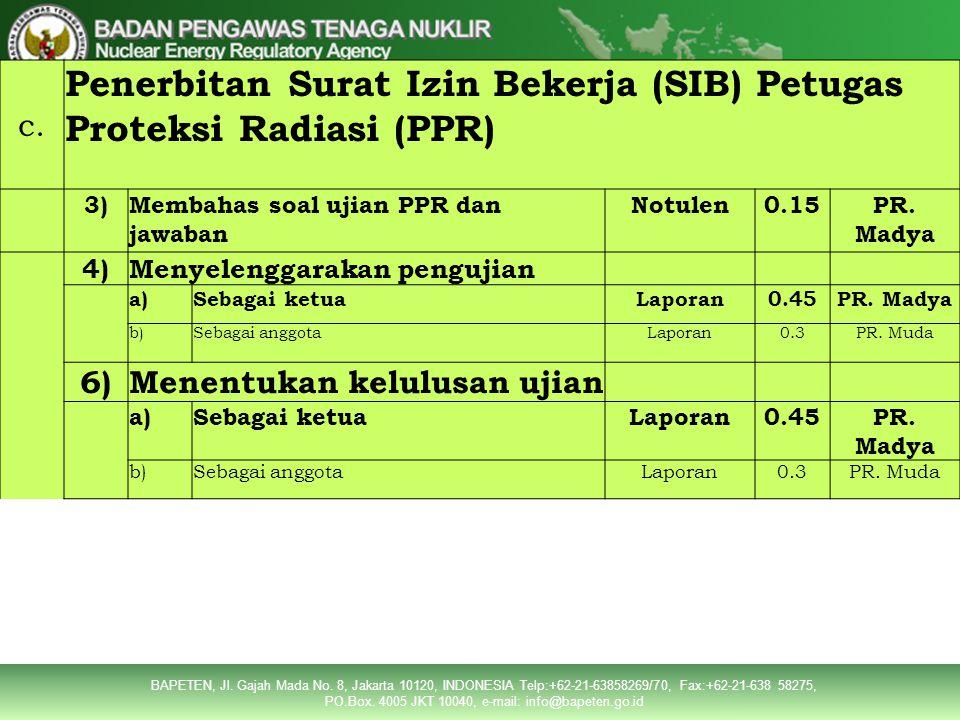 Penerbitan Surat Izin Bekerja (SIB) Petugas Proteksi Radiasi (PPR)