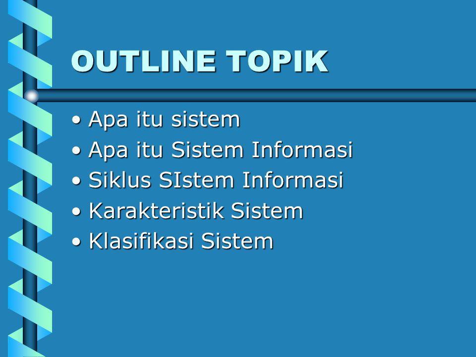 OUTLINE TOPIK Apa itu sistem Apa itu Sistem Informasi