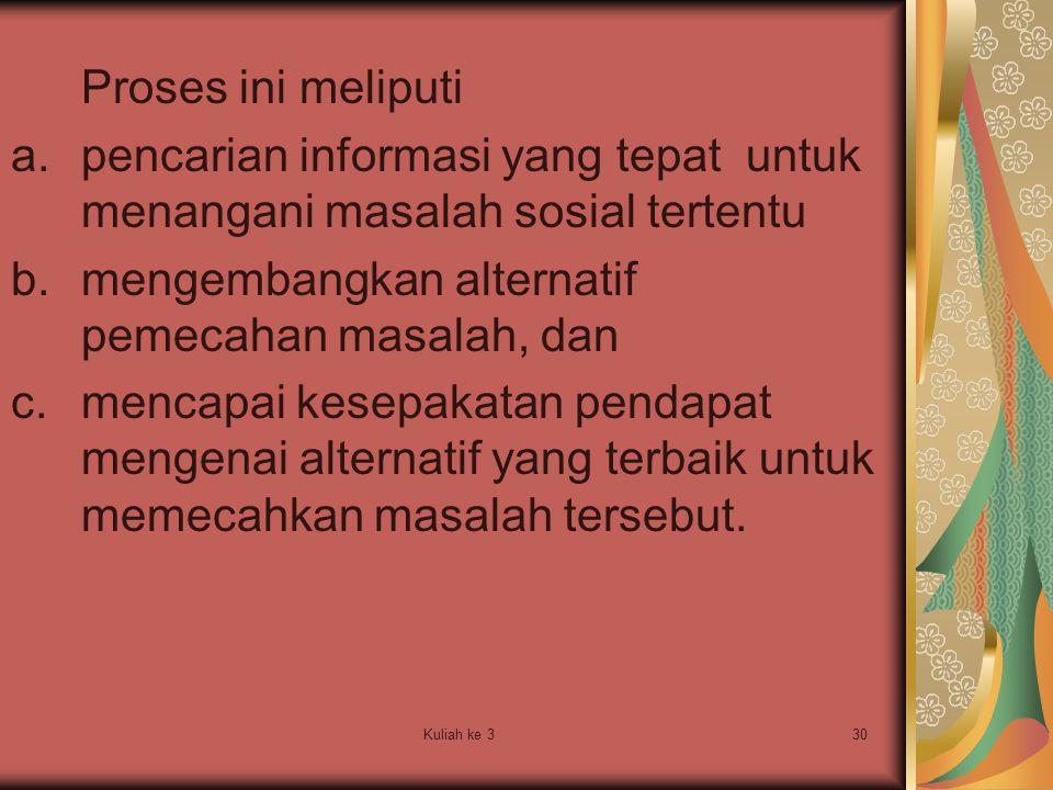 pencarian informasi yang tepat untuk menangani masalah sosial tertentu
