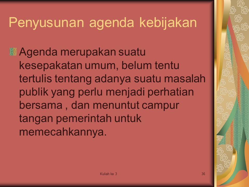 Penyusunan agenda kebijakan