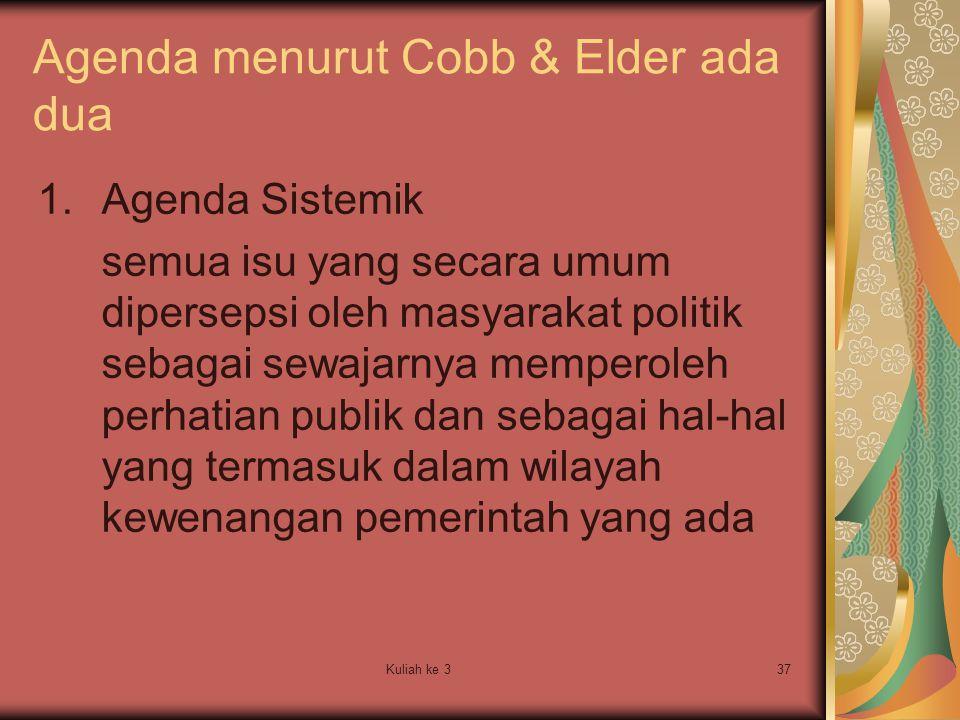 Agenda menurut Cobb & Elder ada dua