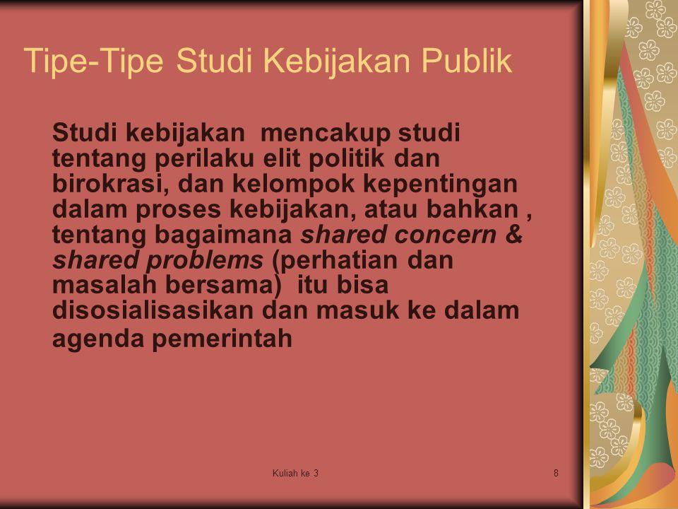 Tipe-Tipe Studi Kebijakan Publik