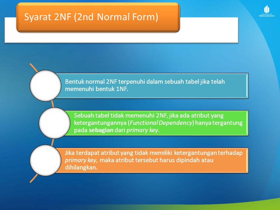 Syarat 2NF (2nd Normal Form)
