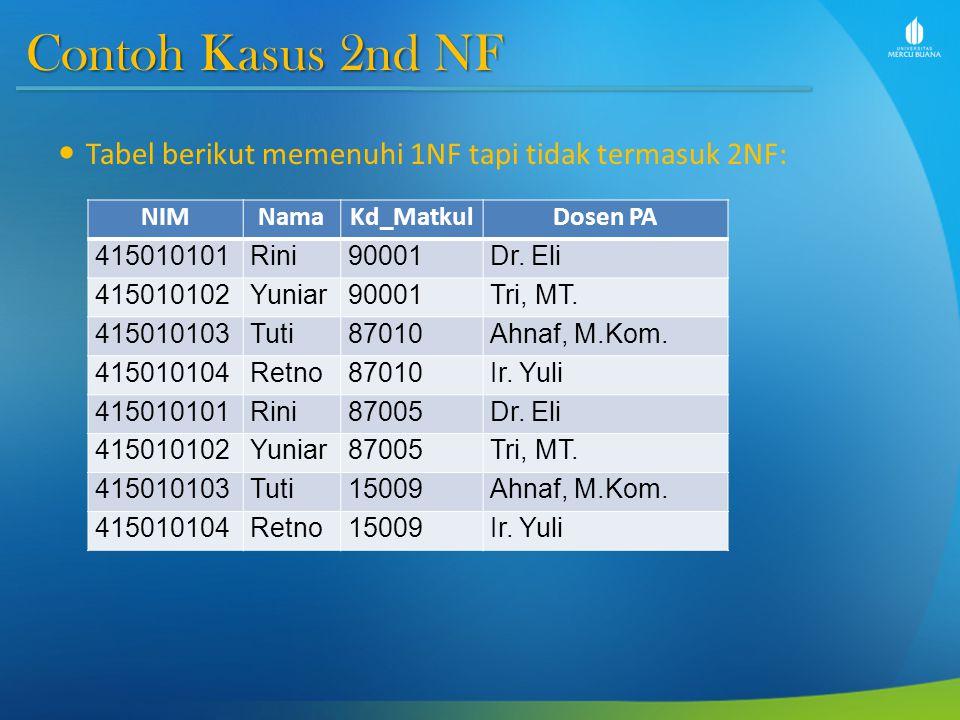 Contoh Kasus 2nd NF Tabel berikut memenuhi 1NF tapi tidak termasuk 2NF: NIM. Nama. Kd_Matkul. Dosen PA.