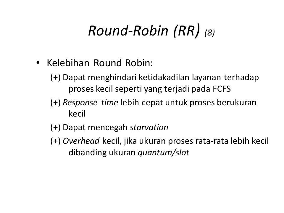 Round-Robin (RR) (9) Solusi untuk contoh kasus seperti pada FCFS dengan RR (ukuran kuantum q=1):