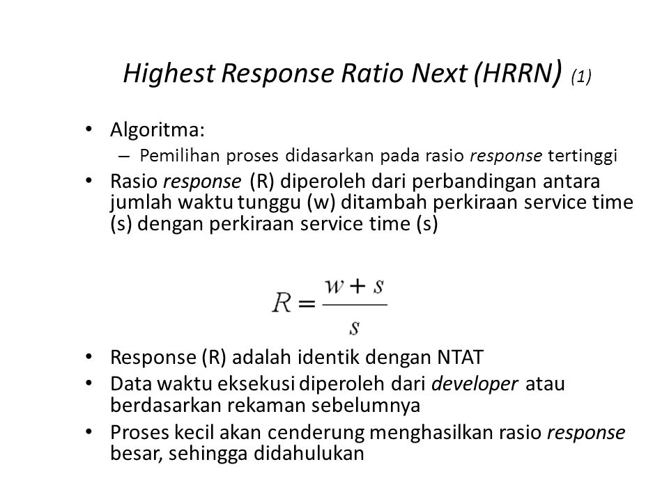 Highest Response Ratio Next (HRRN) (2)