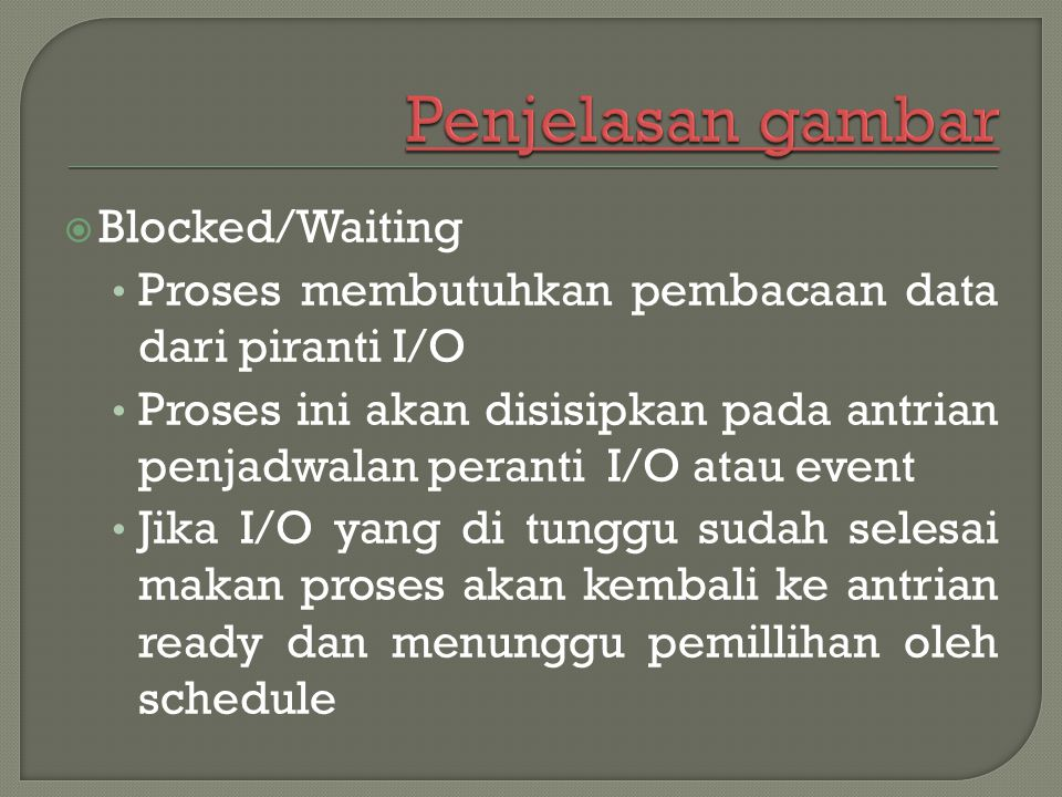 Penjelasan gambar Blocked/Waiting