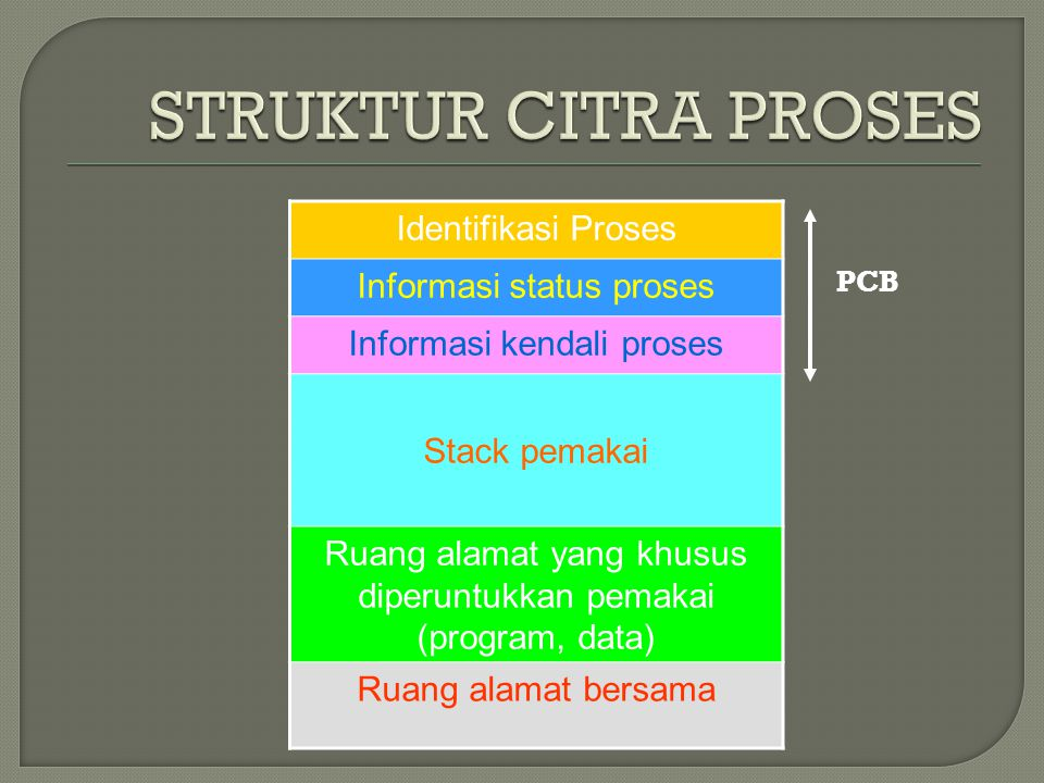 STRUKTUR CITRA PROSES Identifikasi Proses Informasi status proses