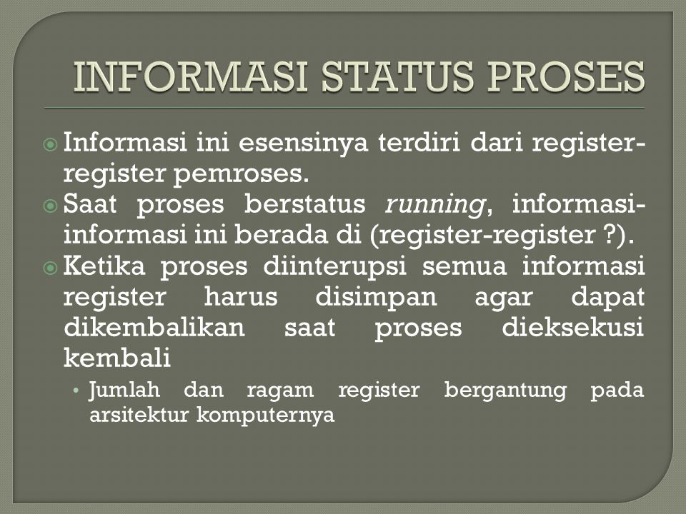 INFORMASI STATUS PROSES
