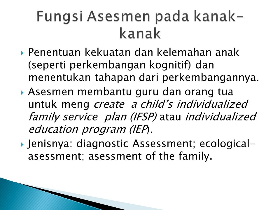 Fungsi Asesmen pada kanak-kanak
