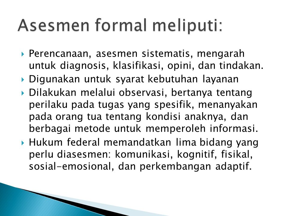 Asesmen formal meliputi: