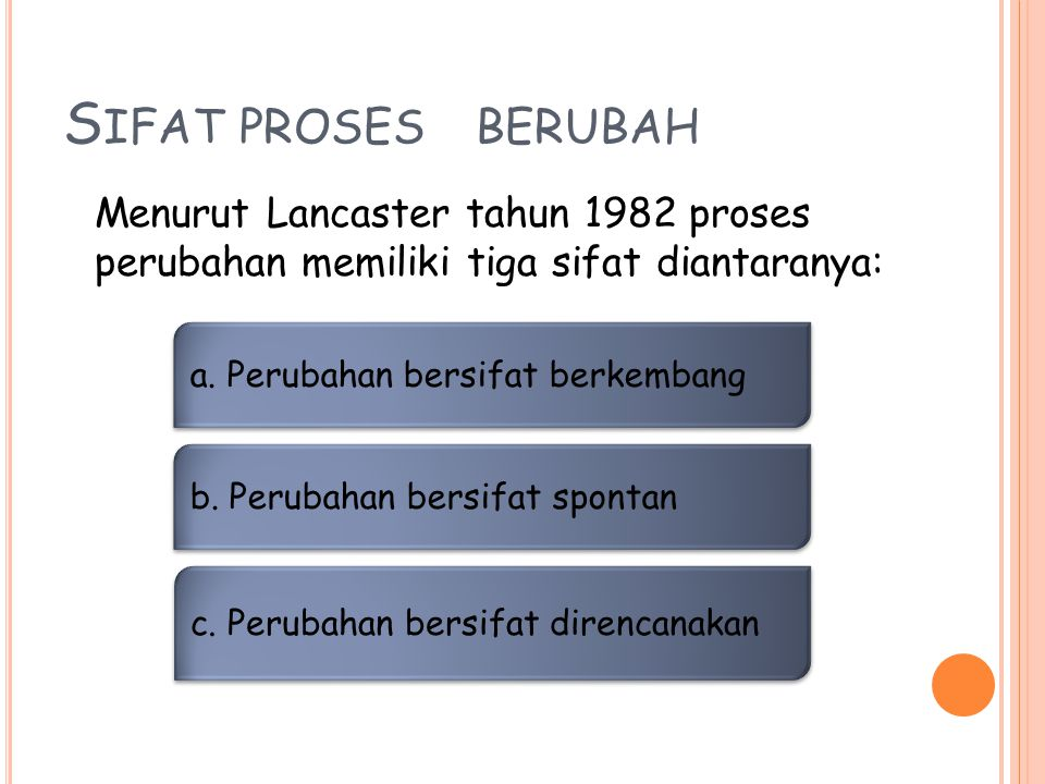 Sifat proses berubah Menurut Lancaster tahun 1982 proses perubahan memiliki tiga sifat diantaranya:
