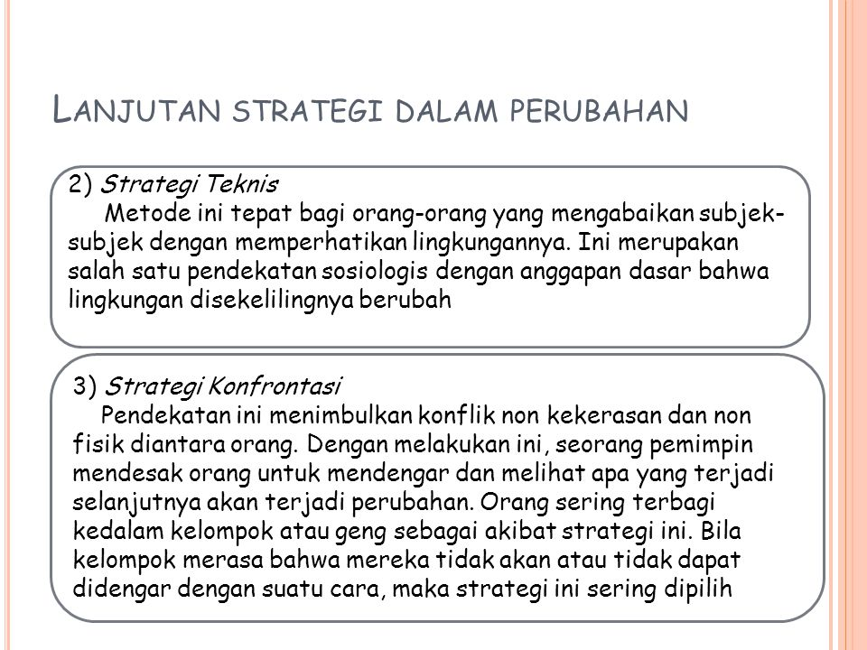 Lanjutan strategi dalam perubahan