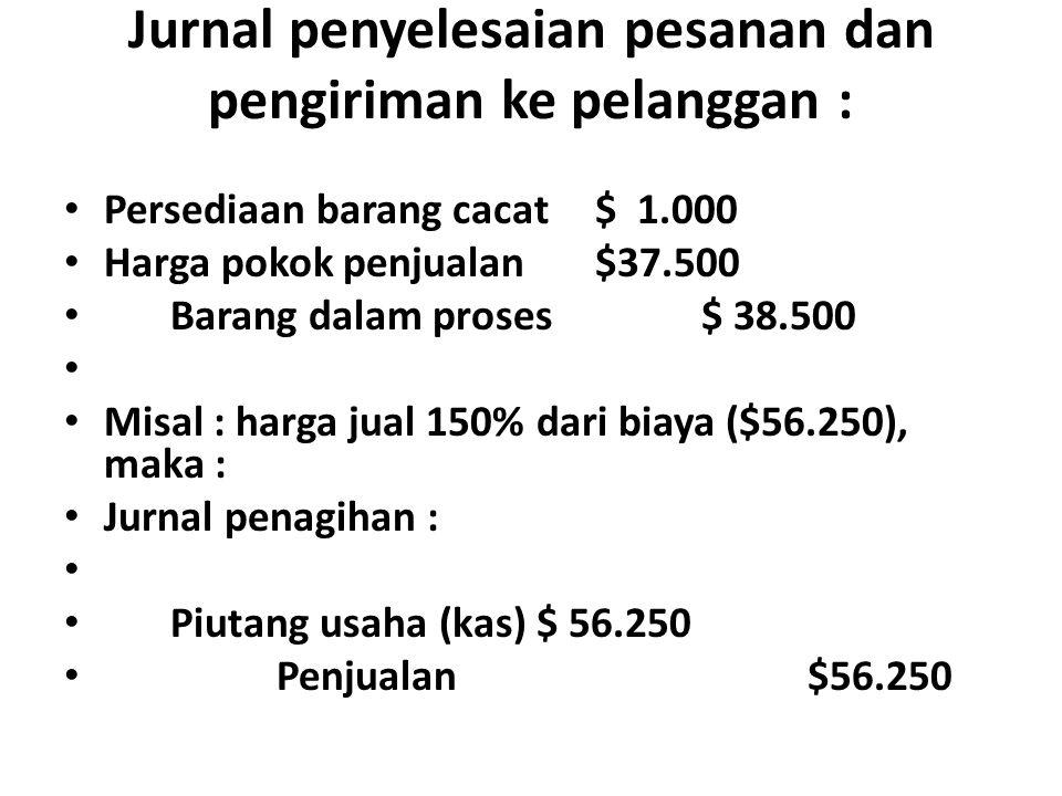 Jurnal penyelesaian pesanan dan pengiriman ke pelanggan :