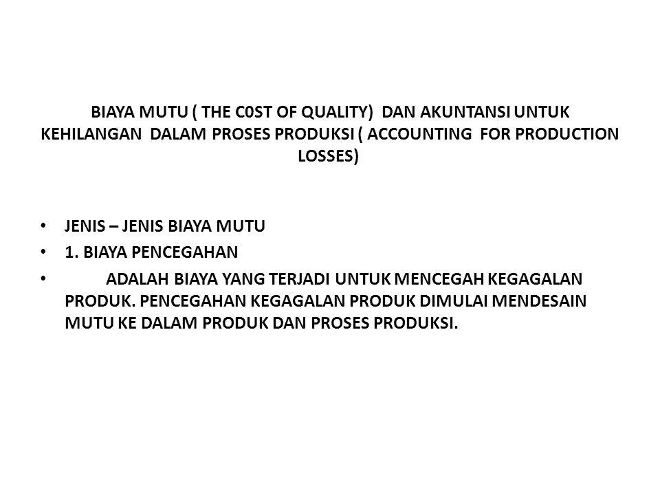 BIAYA MUTU ( THE C0ST OF QUALITY) DAN AKUNTANSI UNTUK KEHILANGAN DALAM PROSES PRODUKSI ( ACCOUNTING FOR PRODUCTION LOSSES)