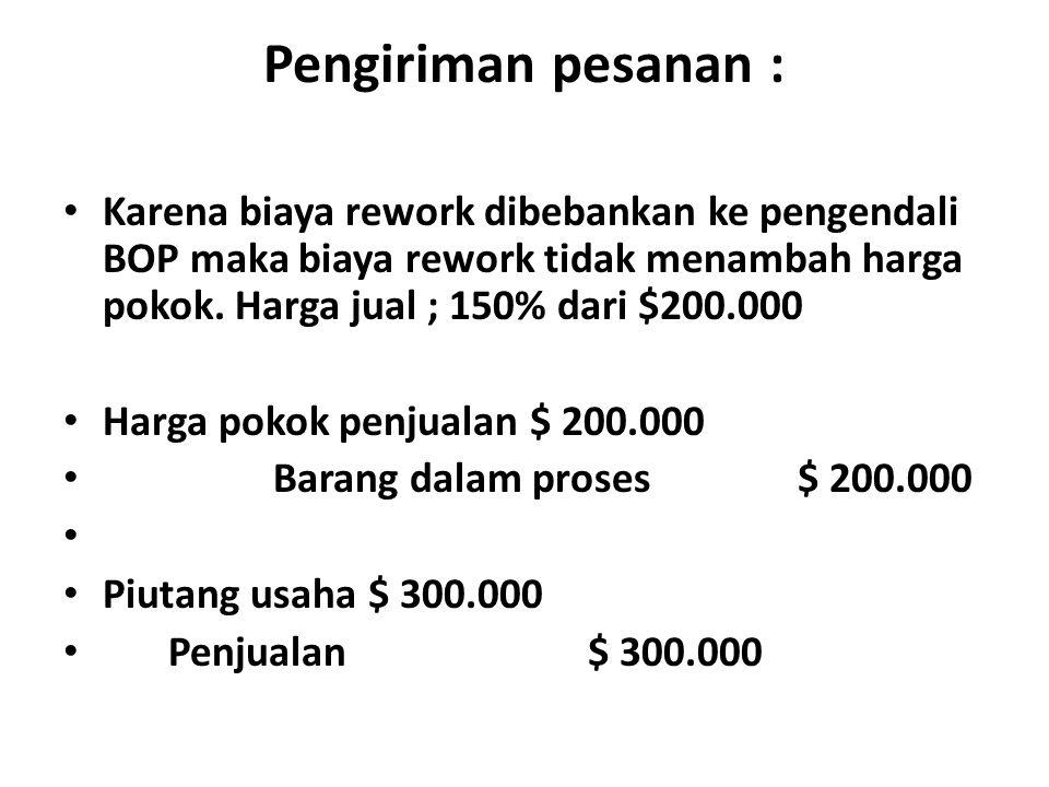 Pengiriman pesanan : Karena biaya rework dibebankan ke pengendali BOP maka biaya rework tidak menambah harga pokok. Harga jual ; 150% dari $200.000.