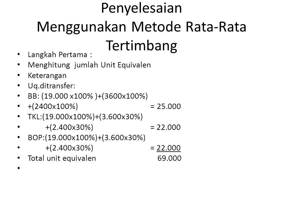 Penyelesaian Menggunakan Metode Rata-Rata Tertimbang