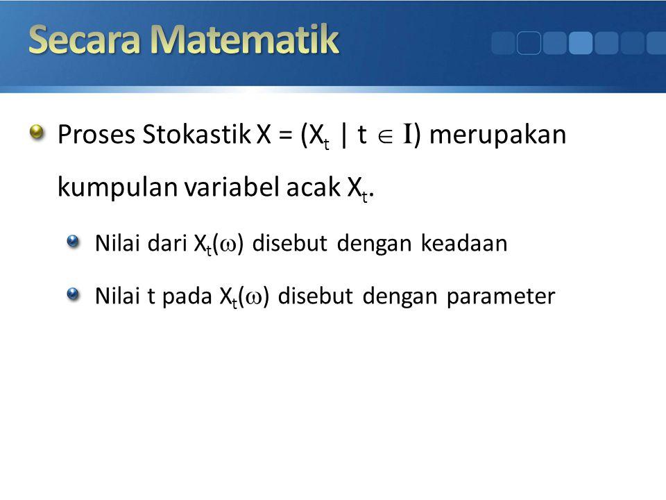 Secara Matematik Proses Stokastik X = (Xt | t I) merupakan kumpulan variabel acak Xt. Nilai dari Xt() disebut dengan keadaan.
