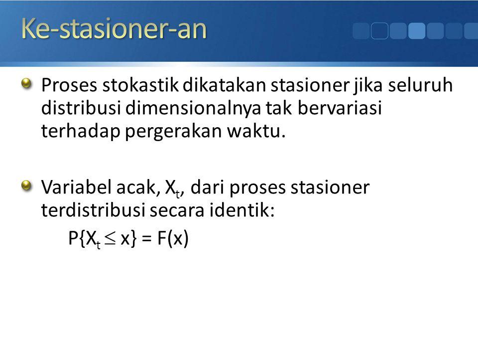 Ke-stasioner-an Proses stokastik dikatakan stasioner jika seluruh distribusi dimensionalnya tak bervariasi terhadap pergerakan waktu.