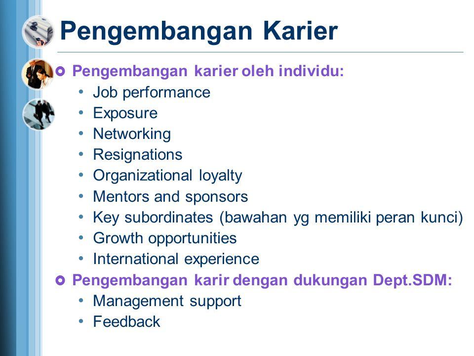Pengembangan Karier Pengembangan karier oleh individu: Job performance