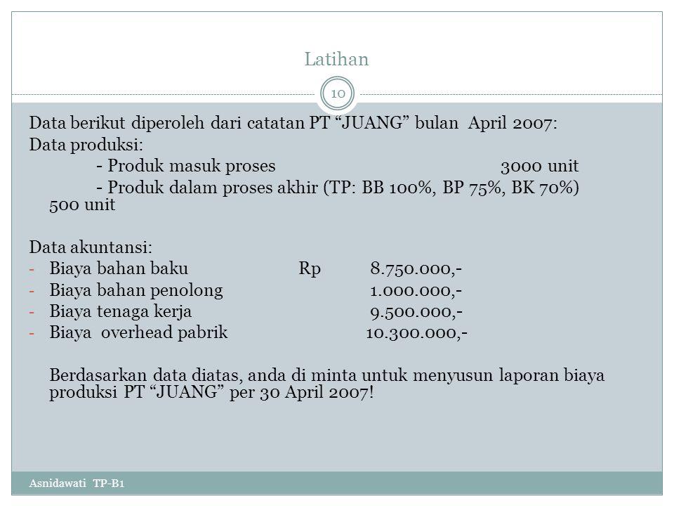 Latihan Data berikut diperoleh dari catatan PT JUANG bulan April 2007: Data produksi: - Produk masuk proses 3000 unit.