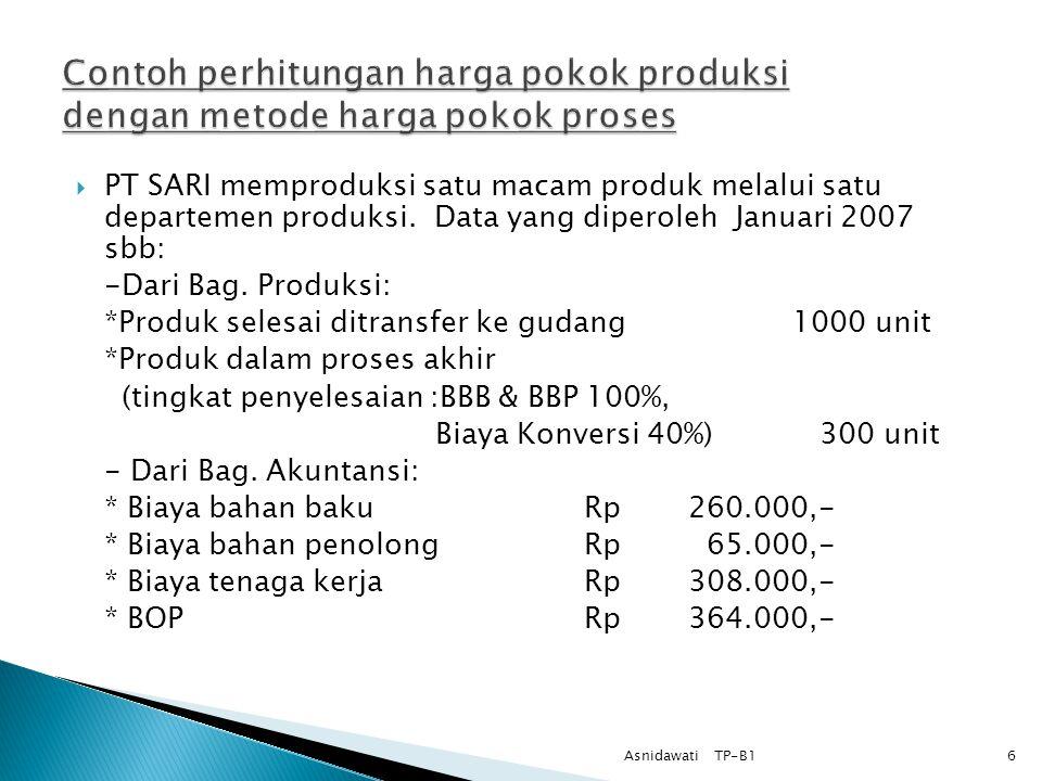 Contoh perhitungan harga pokok produksi dengan metode harga pokok proses