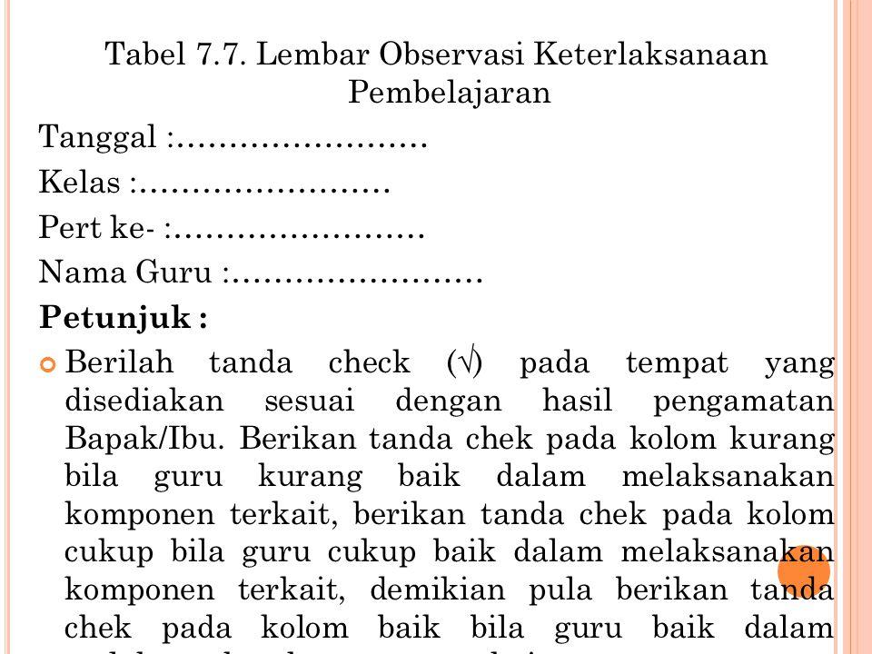 Tabel 7.7. Lembar Observasi Keterlaksanaan Pembelajaran