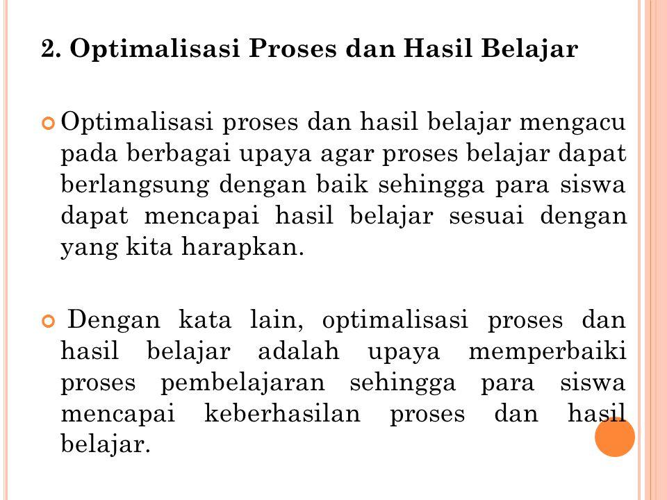 2. Optimalisasi Proses dan Hasil Belajar