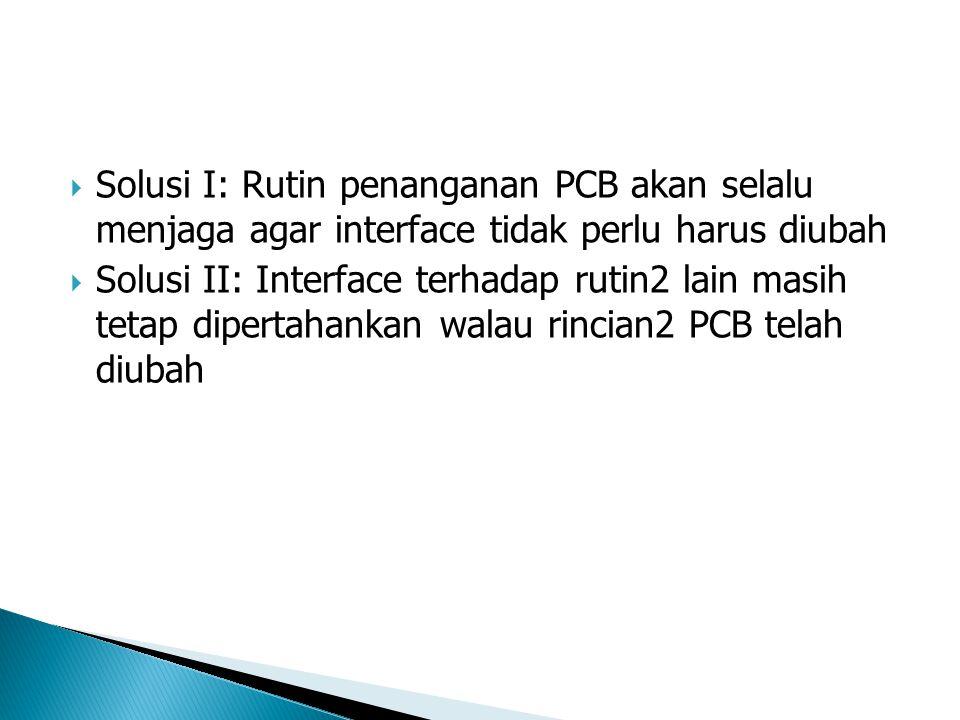 Solusi I: Rutin penanganan PCB akan selalu menjaga agar interface tidak perlu harus diubah