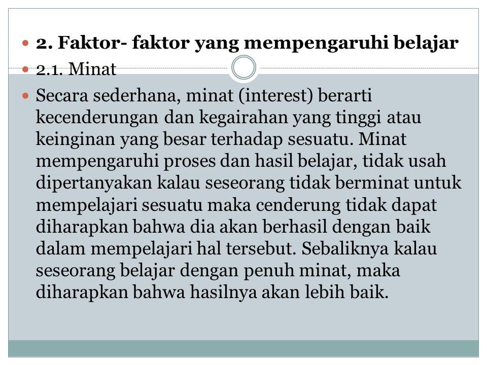 2. Faktor- faktor yang mempengaruhi belajar