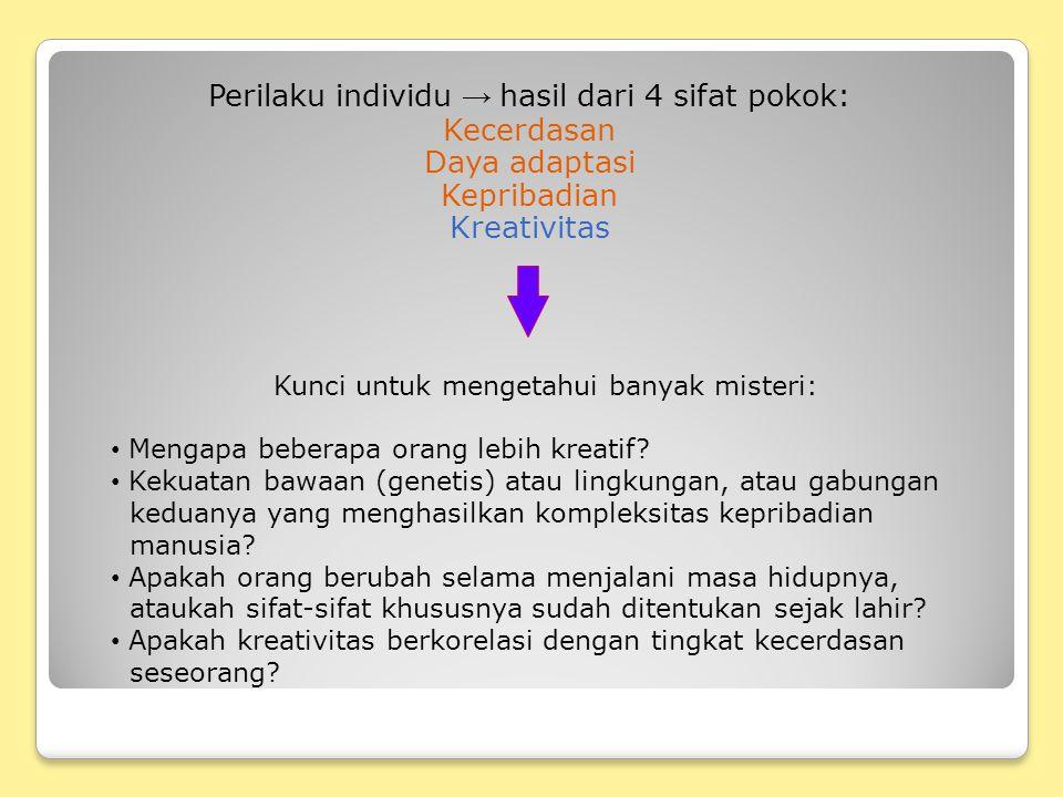 Perilaku individu → hasil dari 4 sifat pokok: Kecerdasan Daya adaptasi