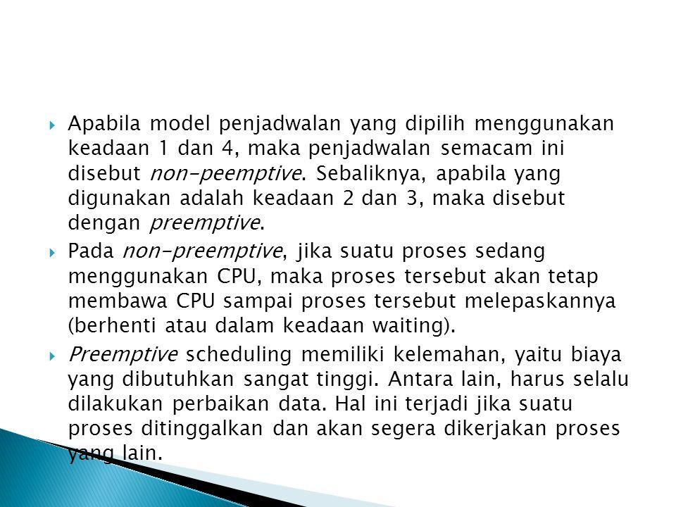 Apabila model penjadwalan yang dipilih menggunakan keadaan 1 dan 4, maka penjadwalan semacam ini disebut non-peemptive. Sebaliknya, apabila yang digunakan adalah keadaan 2 dan 3, maka disebut dengan preemptive.