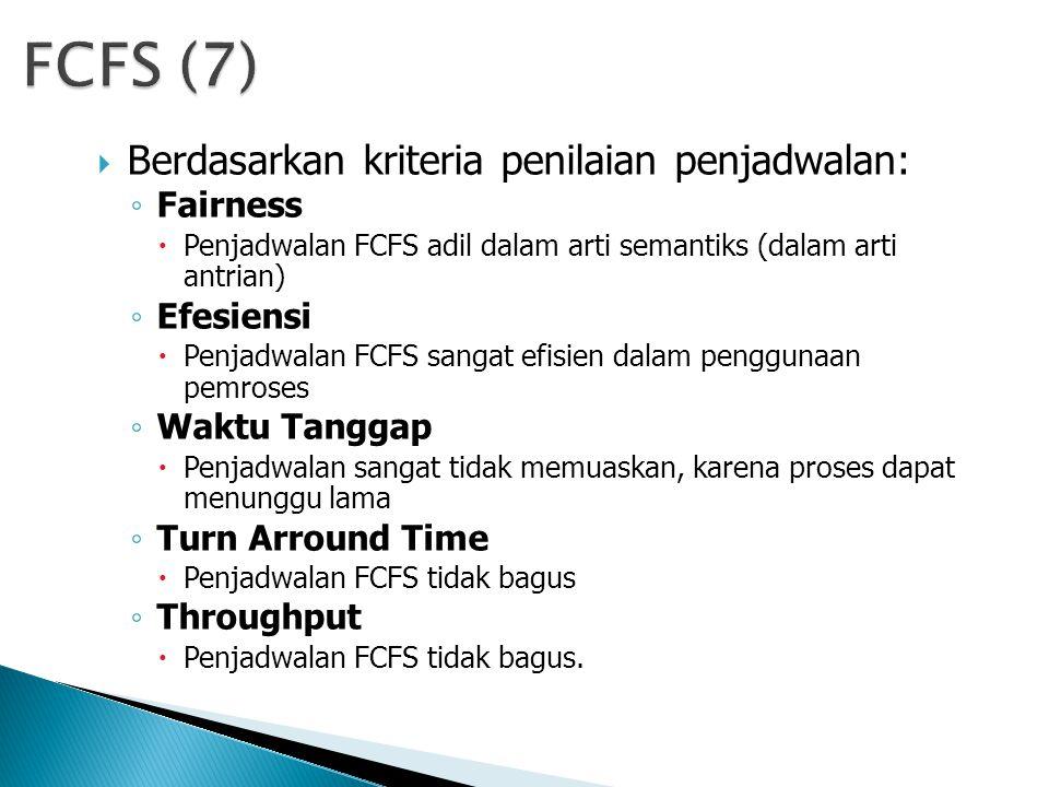 FCFS (7) Berdasarkan kriteria penilaian penjadwalan: Fairness