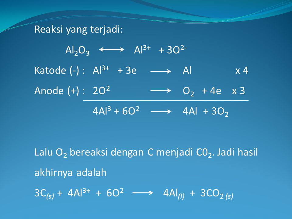 Reaksi yang terjadi: Al2O3 Al3+ + 3O2- Katode (-) : Al3+ + 3e Al x 4. Anode (+) : 2O2 O2 + 4e x 3.