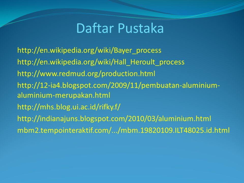 Daftar Pustaka http://en.wikipedia.org/wiki/Bayer_process