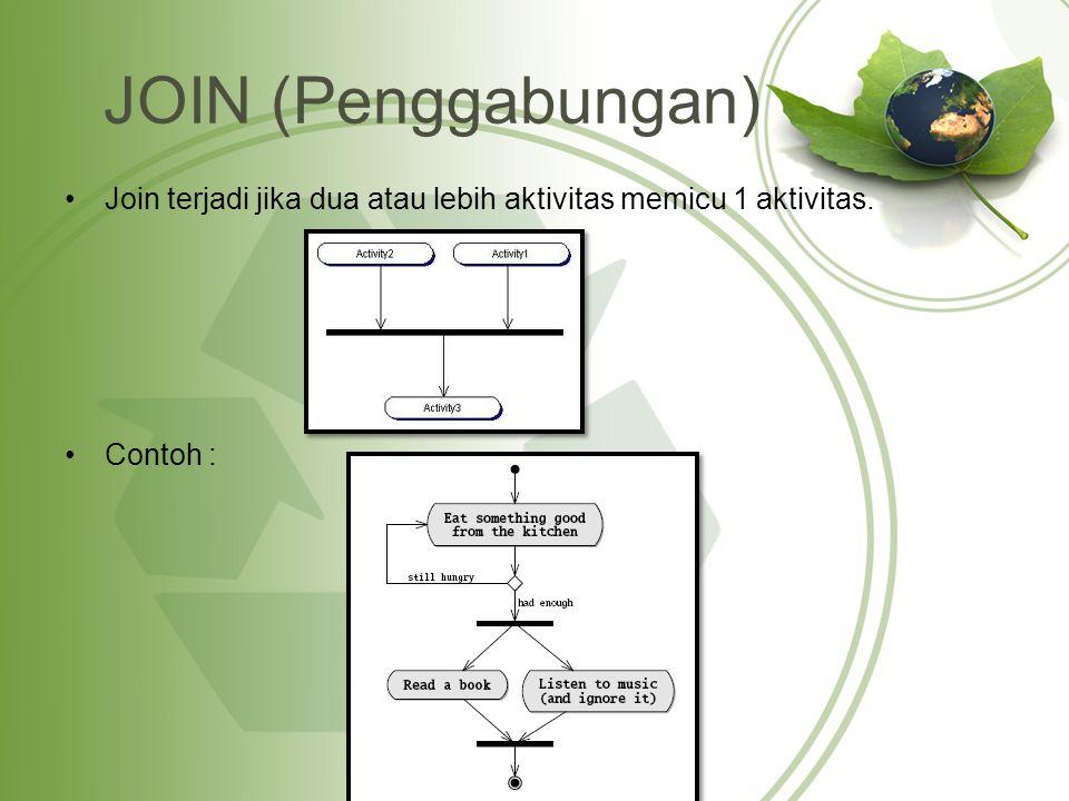 JOIN (Penggabungan) Join terjadi jika dua atau lebih aktivitas memicu 1 aktivitas. Contoh :