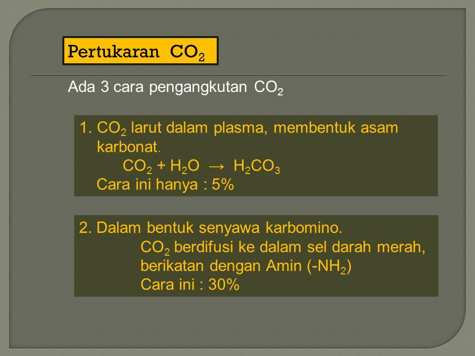 Pertukaran CO2 Ada 3 cara pengangkutan CO2