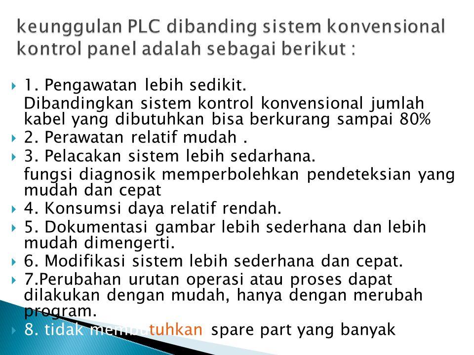 keunggulan PLC dibanding sistem konvensional kontrol panel adalah sebagai berikut :