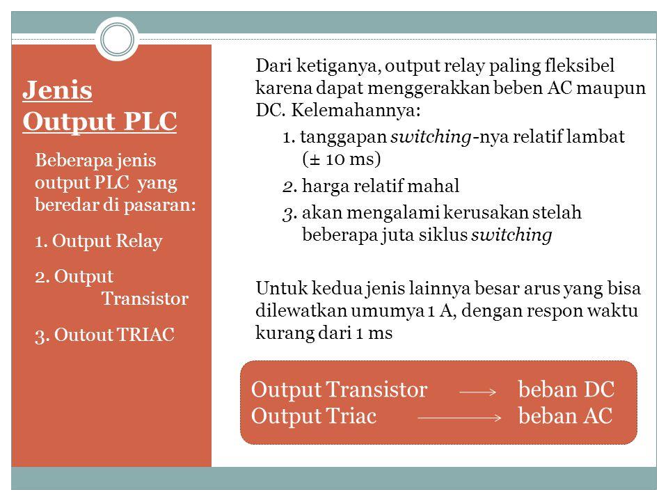 Jenis Output PLC Output Transistor beban DC Output Triac beban AC
