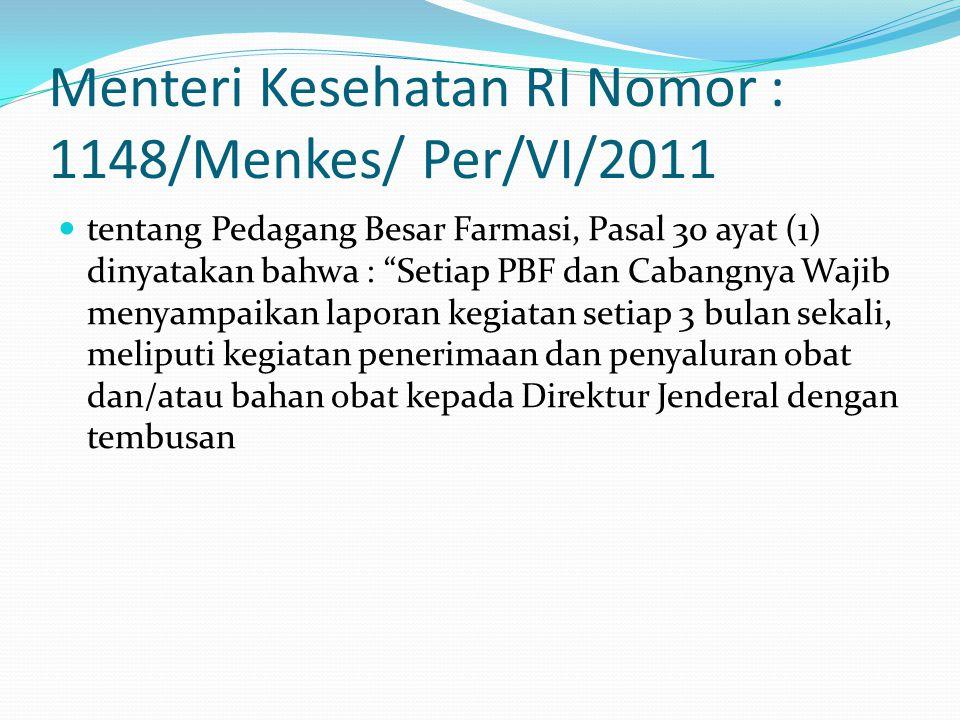 Menteri Kesehatan RI Nomor : 1148/Menkes/ Per/VI/2011