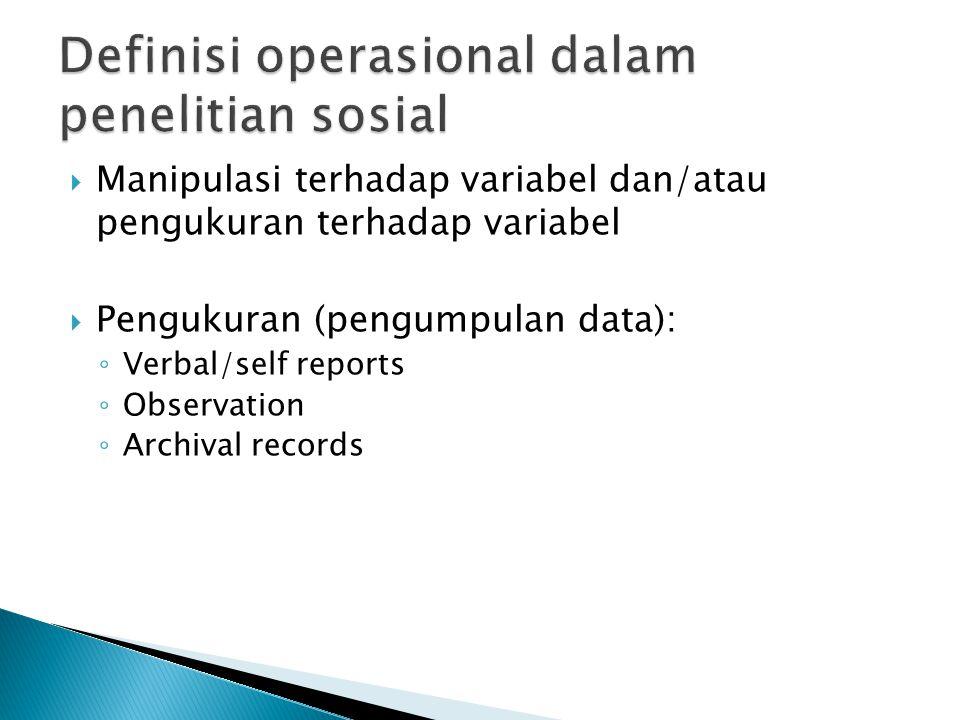 Definisi operasional dalam penelitian sosial