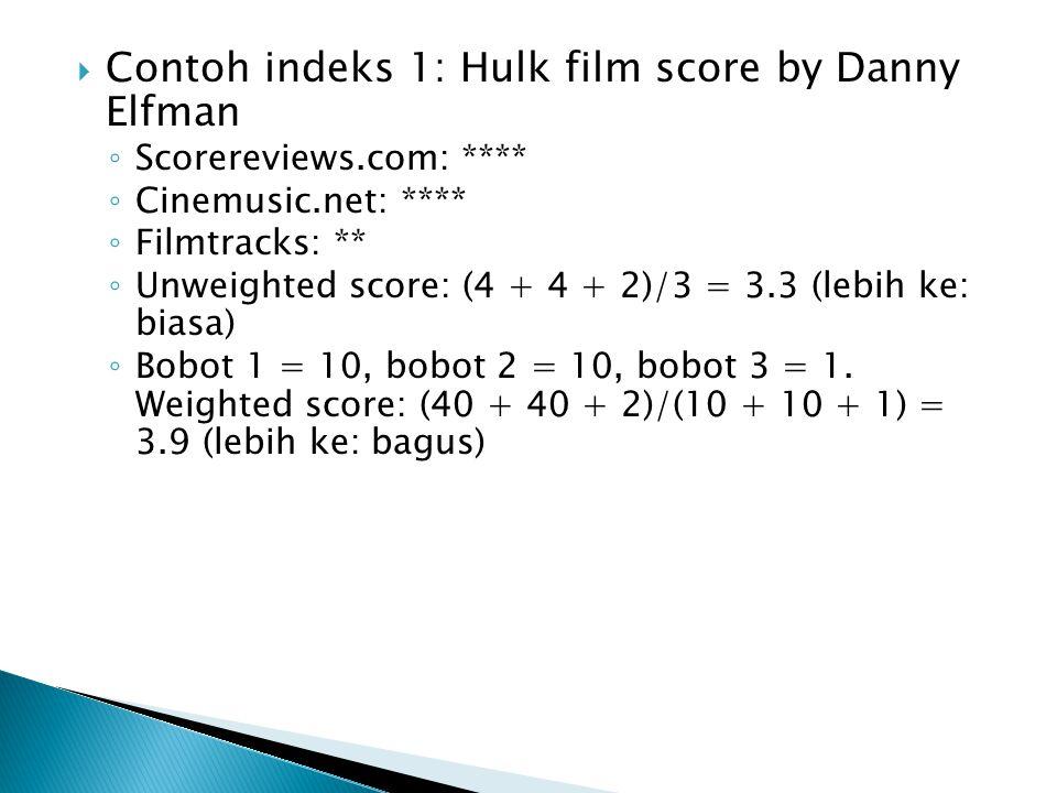 Contoh indeks 1: Hulk film score by Danny Elfman
