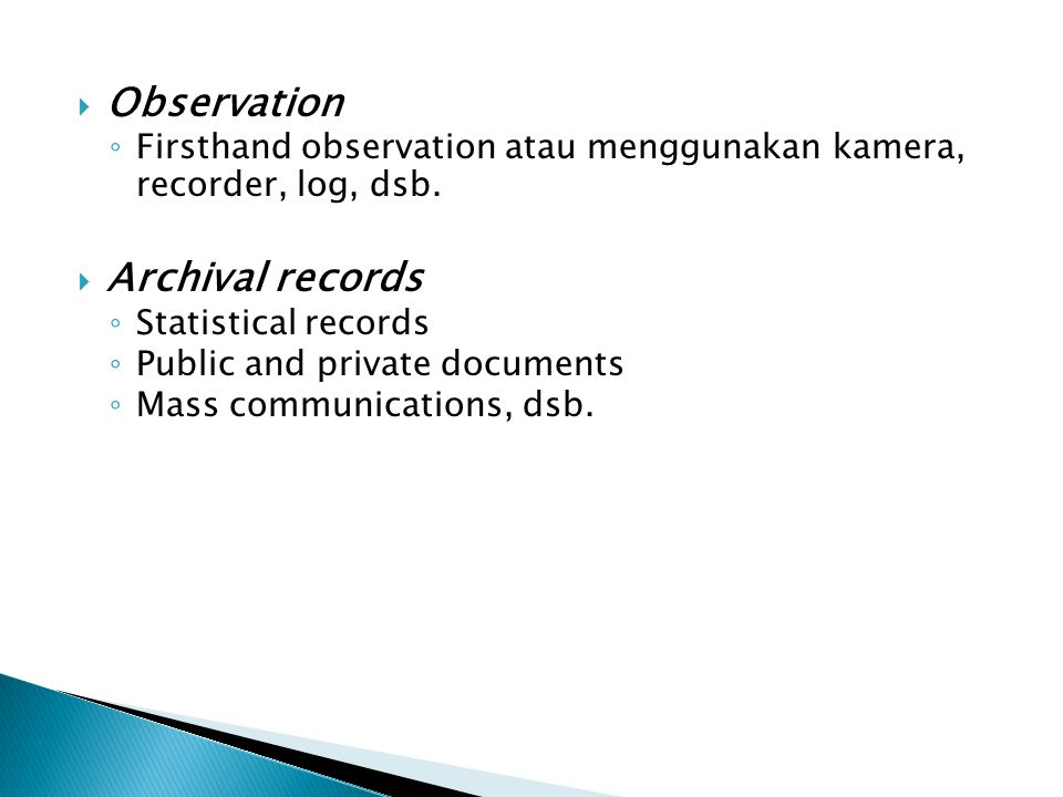 Observation Archival records
